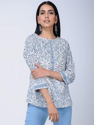 Blue Block-printed Cotton Top