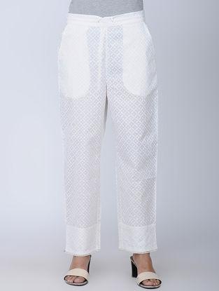 White Block-printed Cotton Elasticated Waist Pants