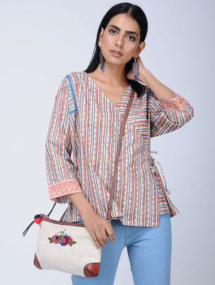 Coral-Blue Block-printed Cotton Top