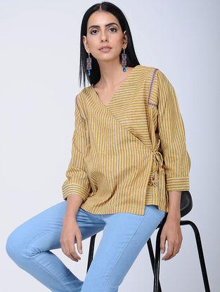 Mustard Block-printed Cotton Top