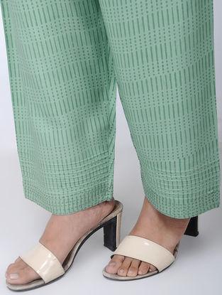 Green Block-printed Viscose Elasticated Waist Pants