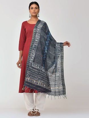 Indigo-Ivory Bagru and Dabu Printed Cotton Dupatta with Woven Border