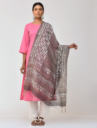 Kashish-Ivory Bagru and Dabu Printed Cotton Dupatta with Woven Border