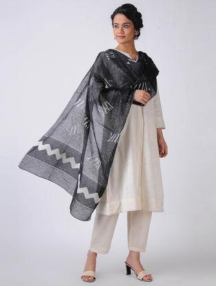 Black-Ivory Block-printed Cotton Blend Dupatta