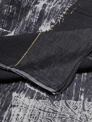 Ivory-Black Block-printed Cotton Blend Dupatta