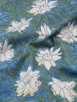 Green-Indigo Dabu and Bagru-printed Cotton Fabric