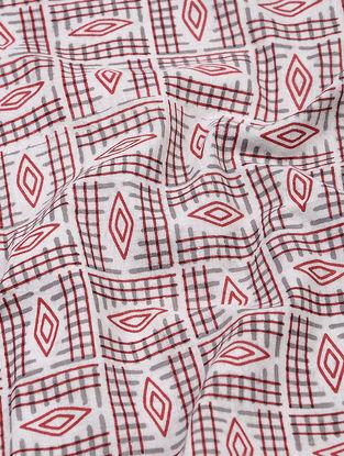 Grey-Red Dabu and Bagru-printed Cotton Fabric