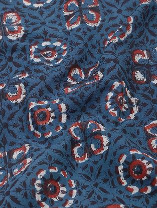 Blue-Red Dabu and Bagru-printed Cotton Fabric