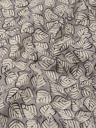 Grey-Ivory Dabu and Bagru-printed Cotton Fabric