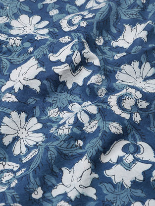 Indigo-Ivory Dabu and Bagru-printed Cotton Fabric