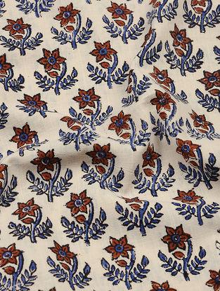 Ivory-Indigo Bagru-printed Cotton Fabric