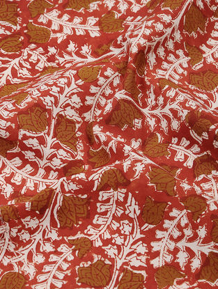 Red-Brown Dabu and Bagru-printed Cotton Fabric