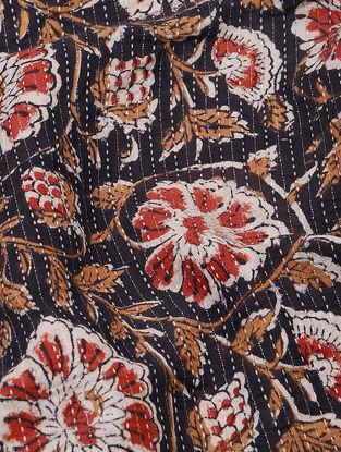 Black-Red Bagru-printed Cotton Fabric