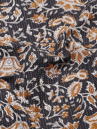 Black-Brown Bagru-printed Cotton Fabric