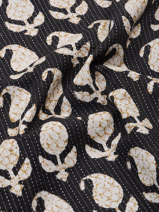 Black-Ivory Bagru-printed Cotton Fabric