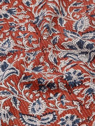 Red-Indigo Bagru-printed Cotton Fabric