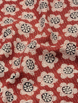 Red-Ivory Bagru-printed Cotton Fabric