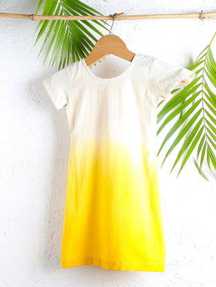 Lemon-Cream Shaded Handloom Cotton Dress with Knotted Back