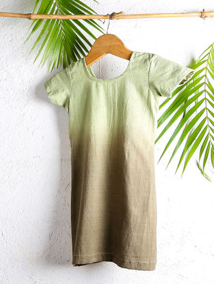 Tangy Olive Shaded Handloom Cotton Dress with Knotted Back
