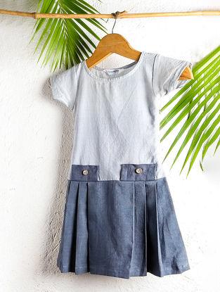 Ivory-Blue Shaded Handloom Cotton Pleated Dress