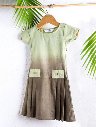 Tangy Olive Shaded Handloom Cotton Pleated Dress