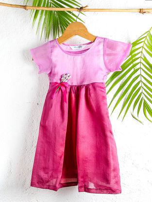 Pink Shaded Chanderi Shift Dress with Flower Motif