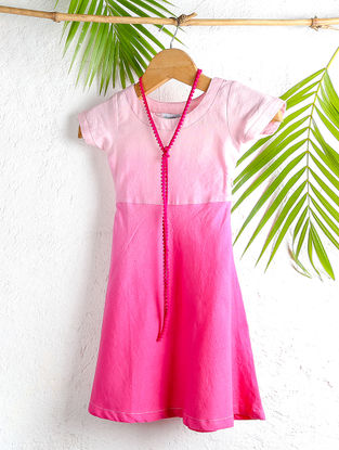 Pink Shaded Handloom Cotton Shift Dress with Necklace