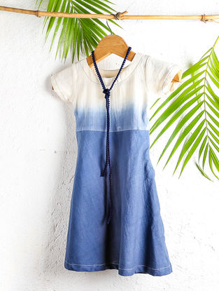 Ivory-Blue Shaded Handloom Cotton Shift Dress with Necklace