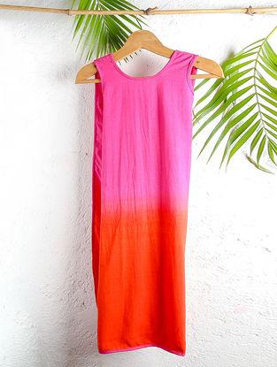 Fuchsia-Orange Shaded Handloom Cotton Wrap Dress