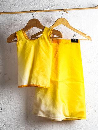 Lemon-Cream Shaded Chanderi Wrap Top with Skirt (Set of 2)