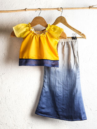Yellow Chanderi Crop Top with Blue Shaded Fish Tail Skirt (Set of 2)