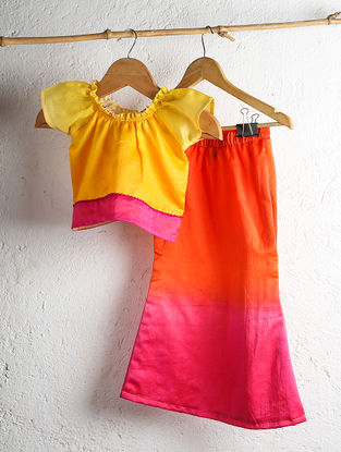 Yellow Chanderi Crop Top with Orange Shaded Fish Tail Skirt (Set of 2)