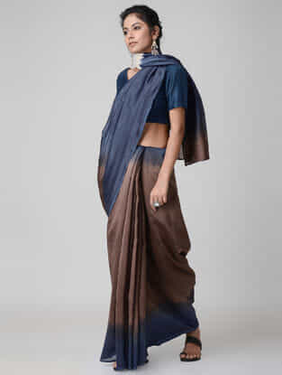 Brown-Blue Ombre-dyed Chanderi Saree