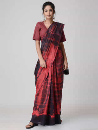 Red-Black Tie and Dye Chanderi Saree
