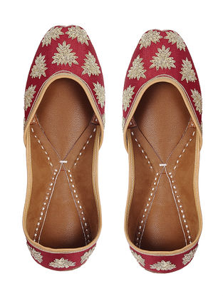 Red-Gold Zari Embroidered Silk and Leather Juttis
