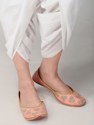 Peach-Gold Zari Embroidered Silk and Leather Juttis