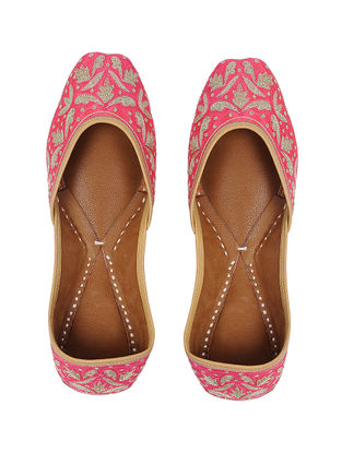 Coral-Gold Zari Embroidered Silk and Leather Juttis