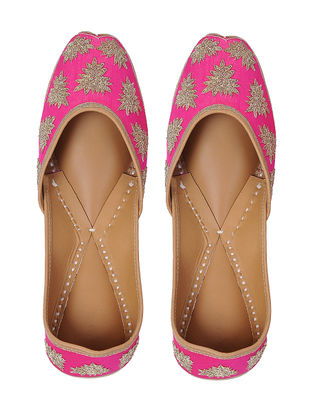 Pink-Gold Zari Embroidered Silk and Leather Juttis