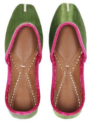 Green Mashru, Leather Juttis