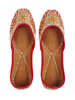 Red-Golden Mashru and Leather Juttis with Tilla Work