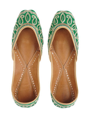 Green-Silver Zari-embroidered Mashru and Leather Juttis with Tilla Work