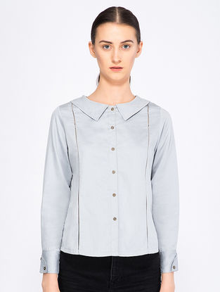 Blue Button-down Organic Cotton Top
