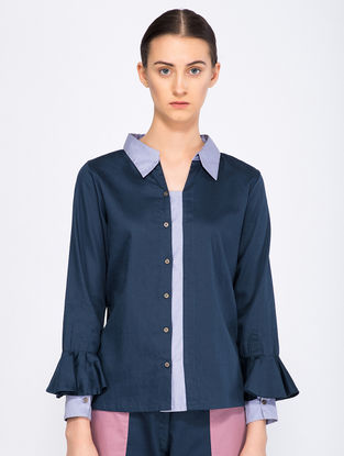 Navy Blue Button-down Organic Cotton Top