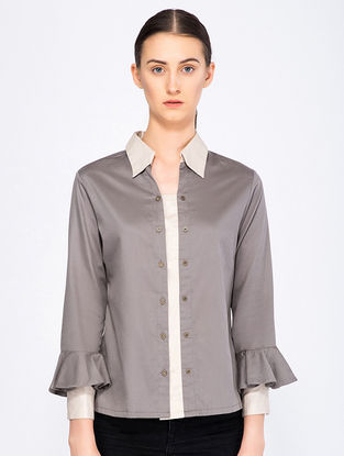 Grey Button-down Organic Cotton Top