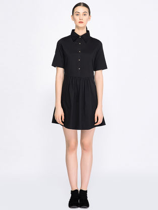 Black Panelled Organic Cotton Dress