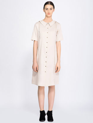 Beige Button-down Organic Cotton Dress