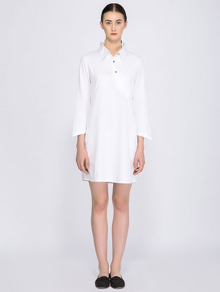 White Organic Cotton Shirt Dress