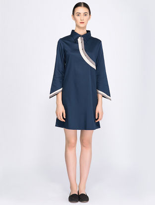 Navy Blue Organic Cotton Shirt Dress