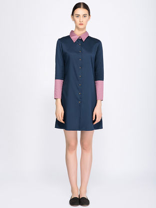 Mauve Button-down Organic Cotton Shirt Dress