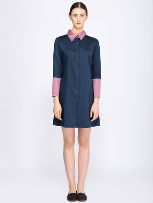Navy Blue Button-down Organic Cotton Shirt Dress